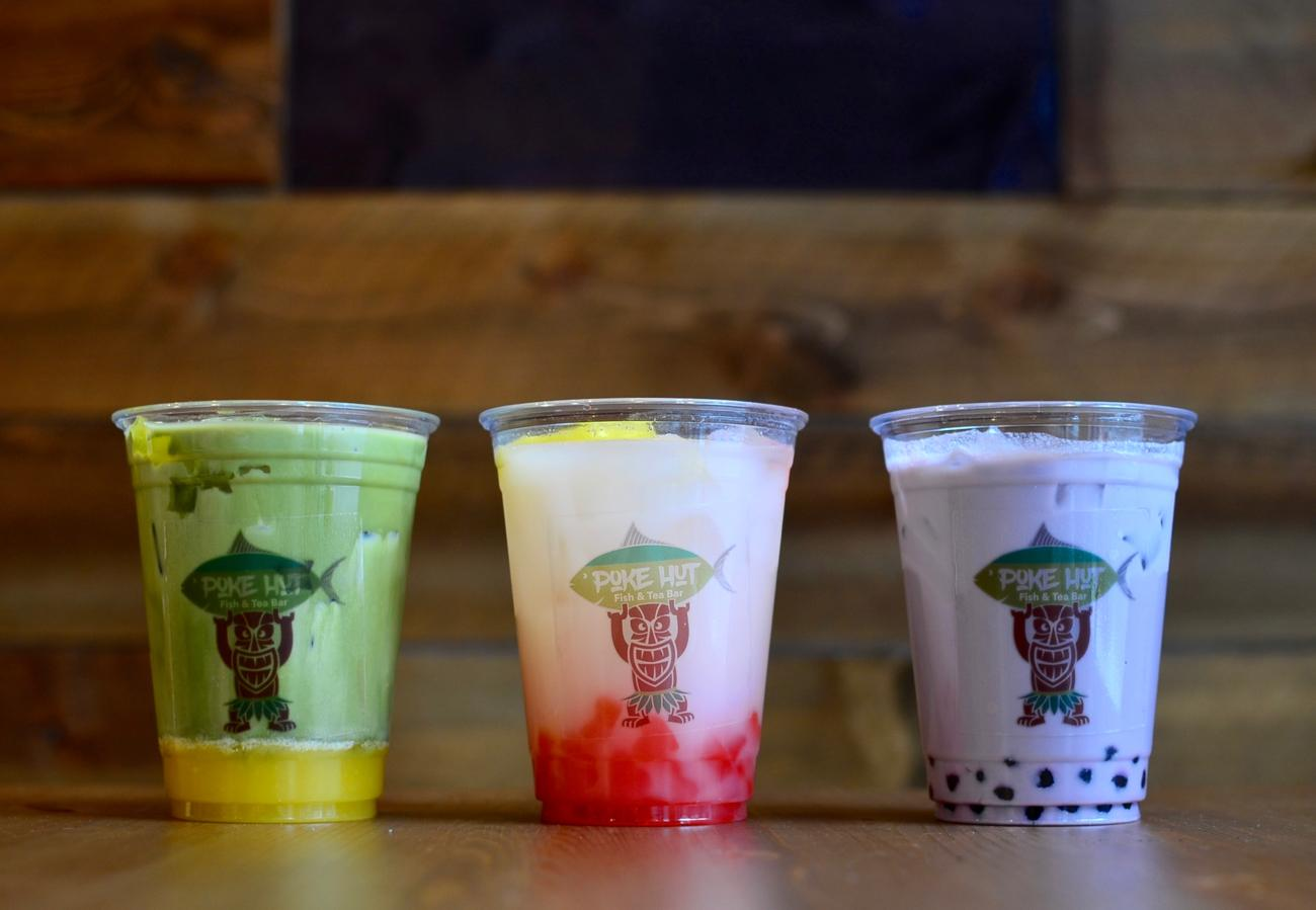 Mango Matcha Latte with mango jelly, Fresh Lemon Yakult with strawberry jelly, and Taro Milk Tea with traditional boba / Image: Leah Zipperstein, Cincinnati Refined // Published: 1.7.18
