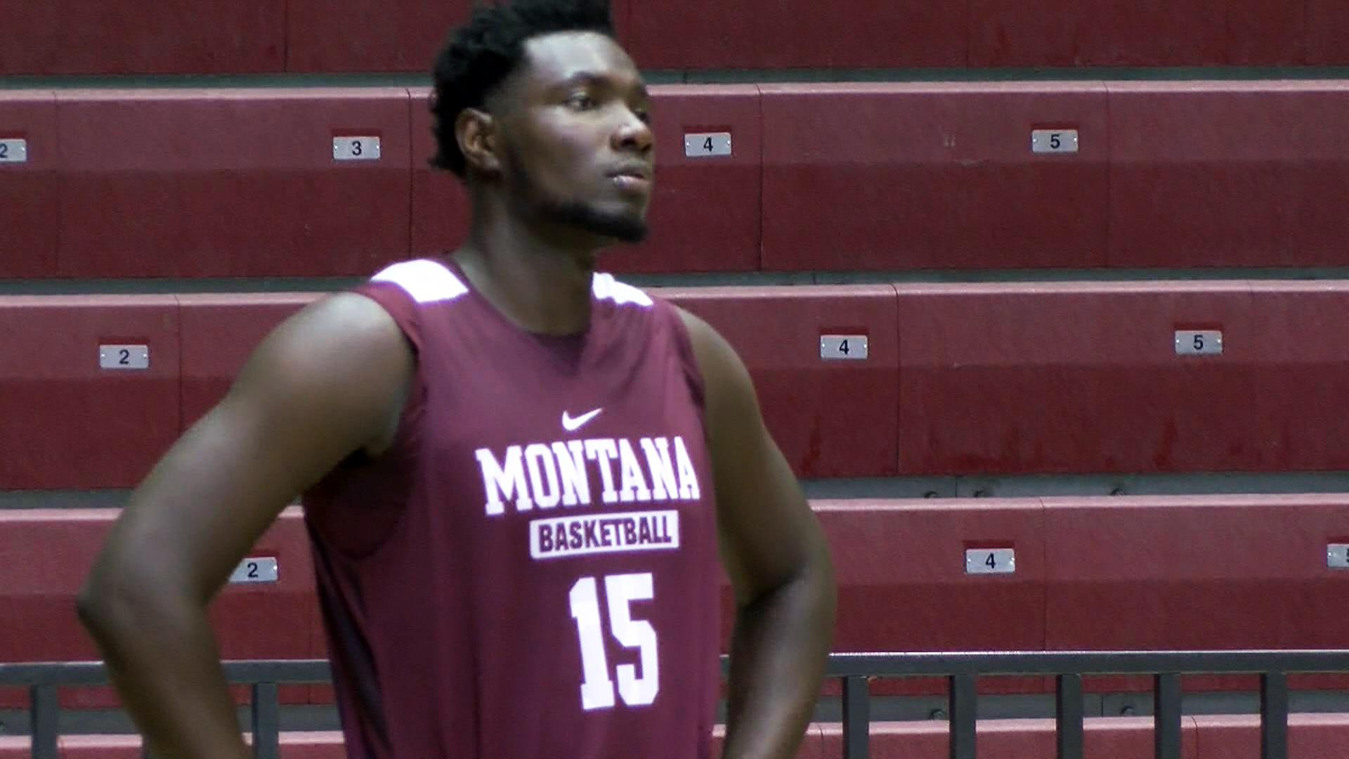 Jamar Akoh looks on during a Griz basketball practice.<p></p>