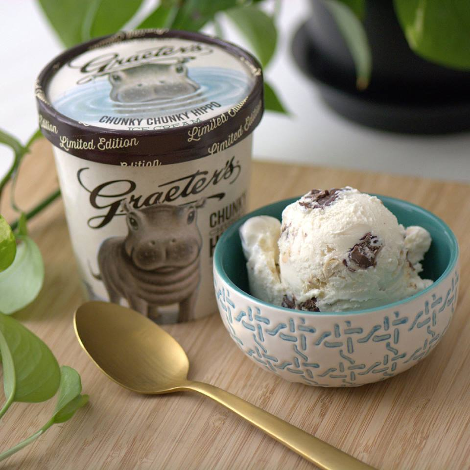 Graeter's Fiona-inspired Chunky Chunky Hippo Ice Cream / Image courtesy of Graeter's // Published: 8.22.18