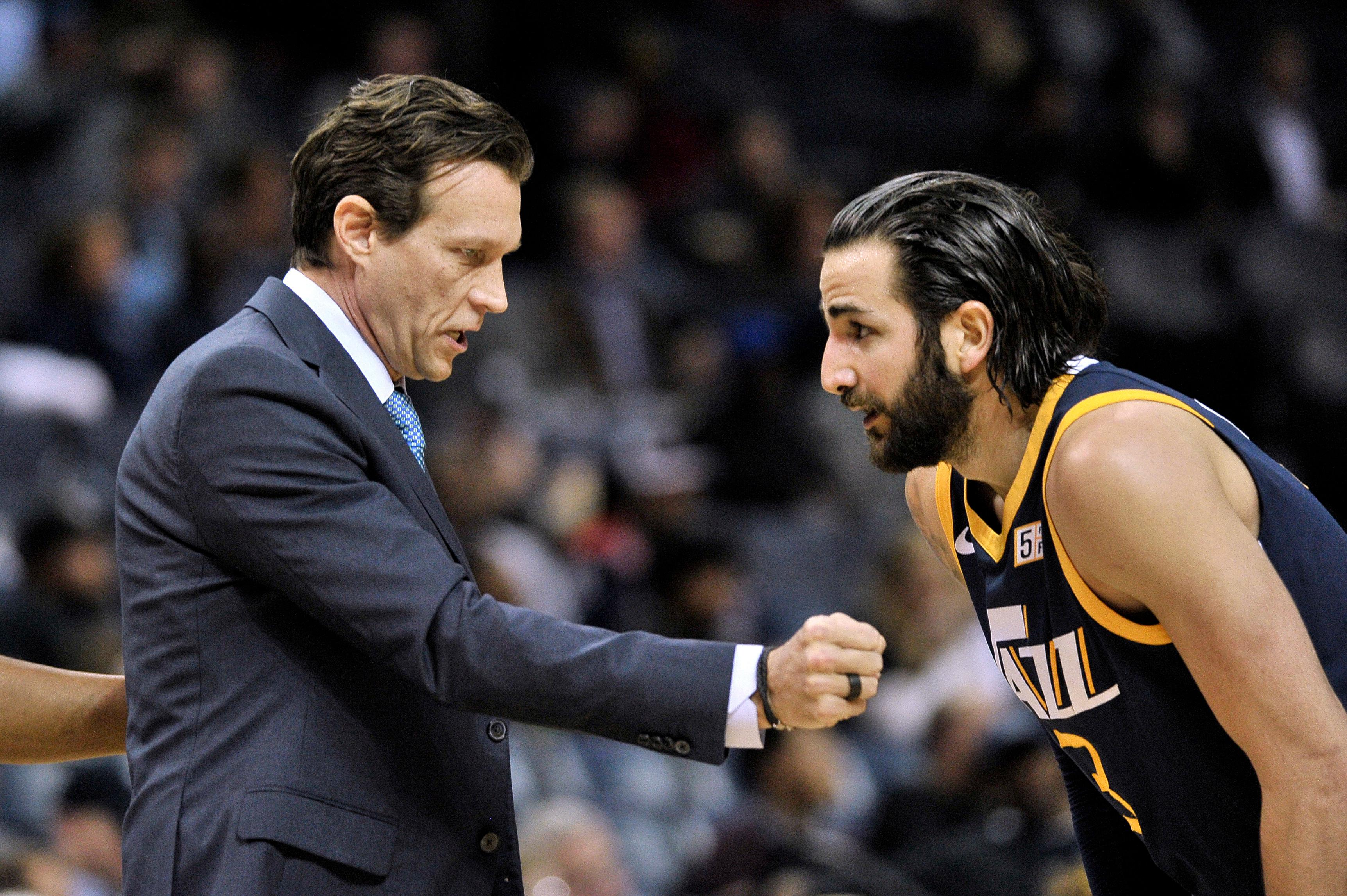 Utah Jazz coach Quin Snyder, left, talks with guard Ricky Rubio during the first half of the team's NBA basketball game against the Memphis Grizzlies on Wednesday, Feb. 7, 2018, in Memphis, Tenn. (AP Photo/Brandon Dill)