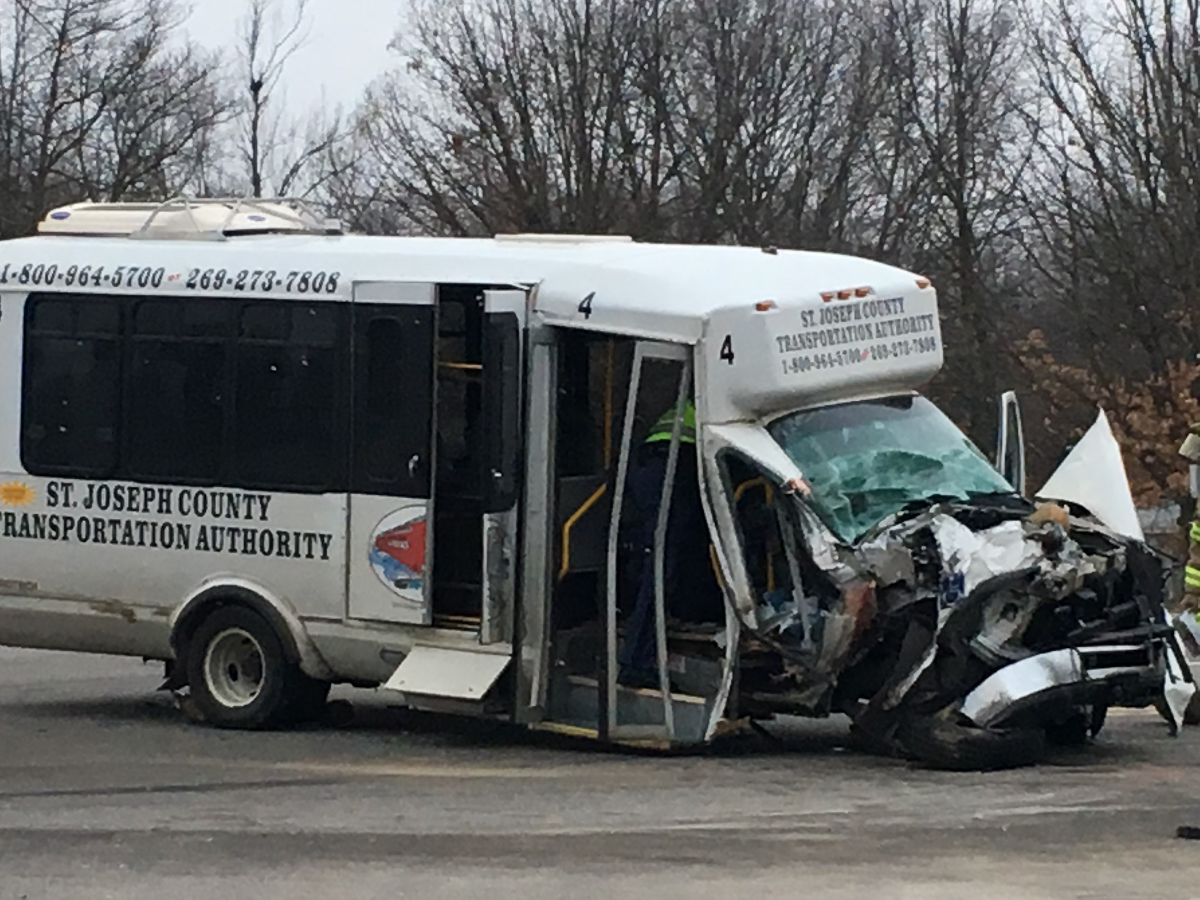 A bus and semi collided Monday morning in Constantine. (WWMT/Jake Berent)<p></p>