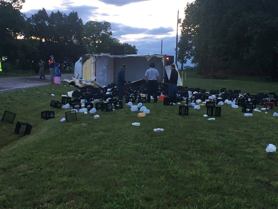 A Central Dairy milk truck crashed about 4:24 a.m. on Route C less than a fourth of a mile west of Gracey Creek Road. (Matthew Folsom)