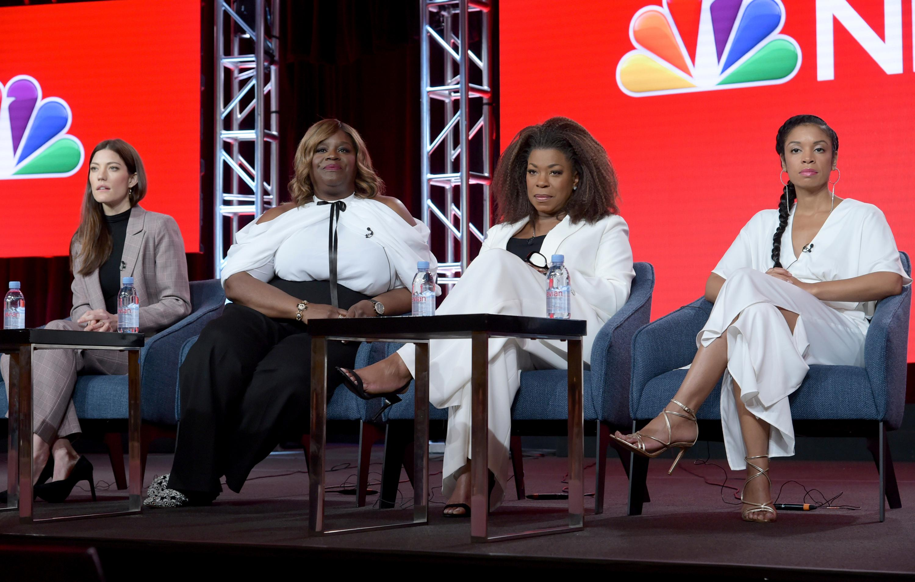 Jennifer Carpenter, from left, Retta, Lorraine Toussaint and Susan Kelechi Watson participate in the Women of Drama panel during the NBCUniversal TCA Winter Press Tour on Tuesday, Jan. 29, 2019, in Pasadena, Calif. (Photo by Richard Shotwell/Invision/AP)