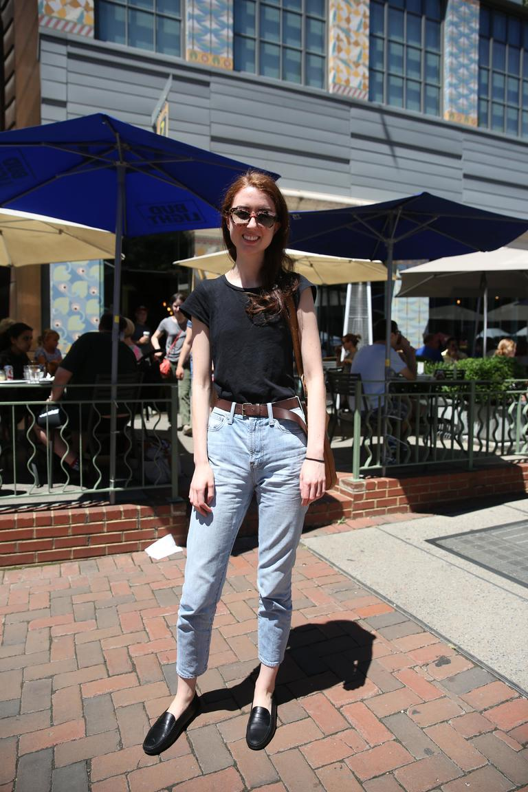 Isabella Huffington's high-waisted jeans are a cool-girl throwback. (Amanda Andrade-Rhoades/DC Refined)