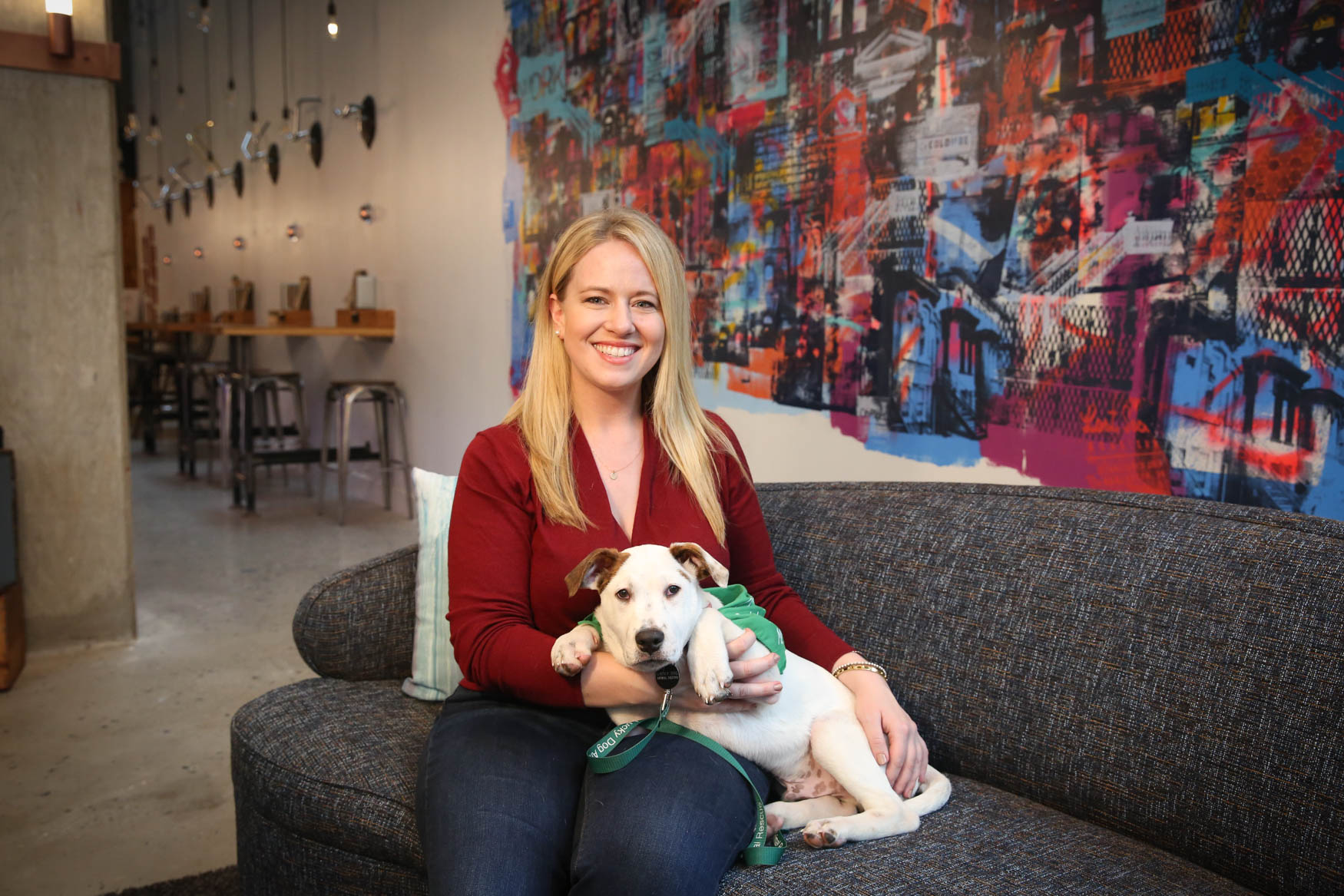 Meet Bartholamul and Connie, a  3.5-month-old Lab/ Terrier mix and a 31-year-old human respectively. Photo location: Moxy Washington, D.C. Downtown (Image: Amanda Andrade-Rhoades/ DC Refined)