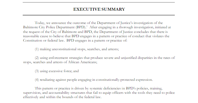 "The DOJ's report says it found reasonable cause to believe that the BPD ""engages in a pattern or practice of conduct that violates the First and Fourth Amendments of the Constitution as well as federal anti-discrimination laws."" (Screenshot from DOJ report)"