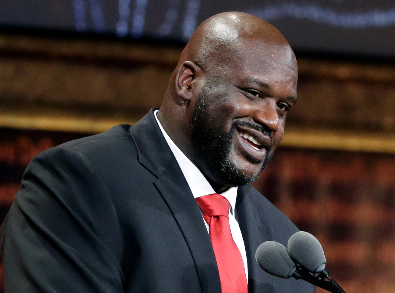 FILE - In this Sept. 9, 2016, file photo, basketball Hall of Fame inductee Shaquille O'Neal speaks during induction ceremonies in Springfield, Mass. (AP Photo/Elise Amendola, File)