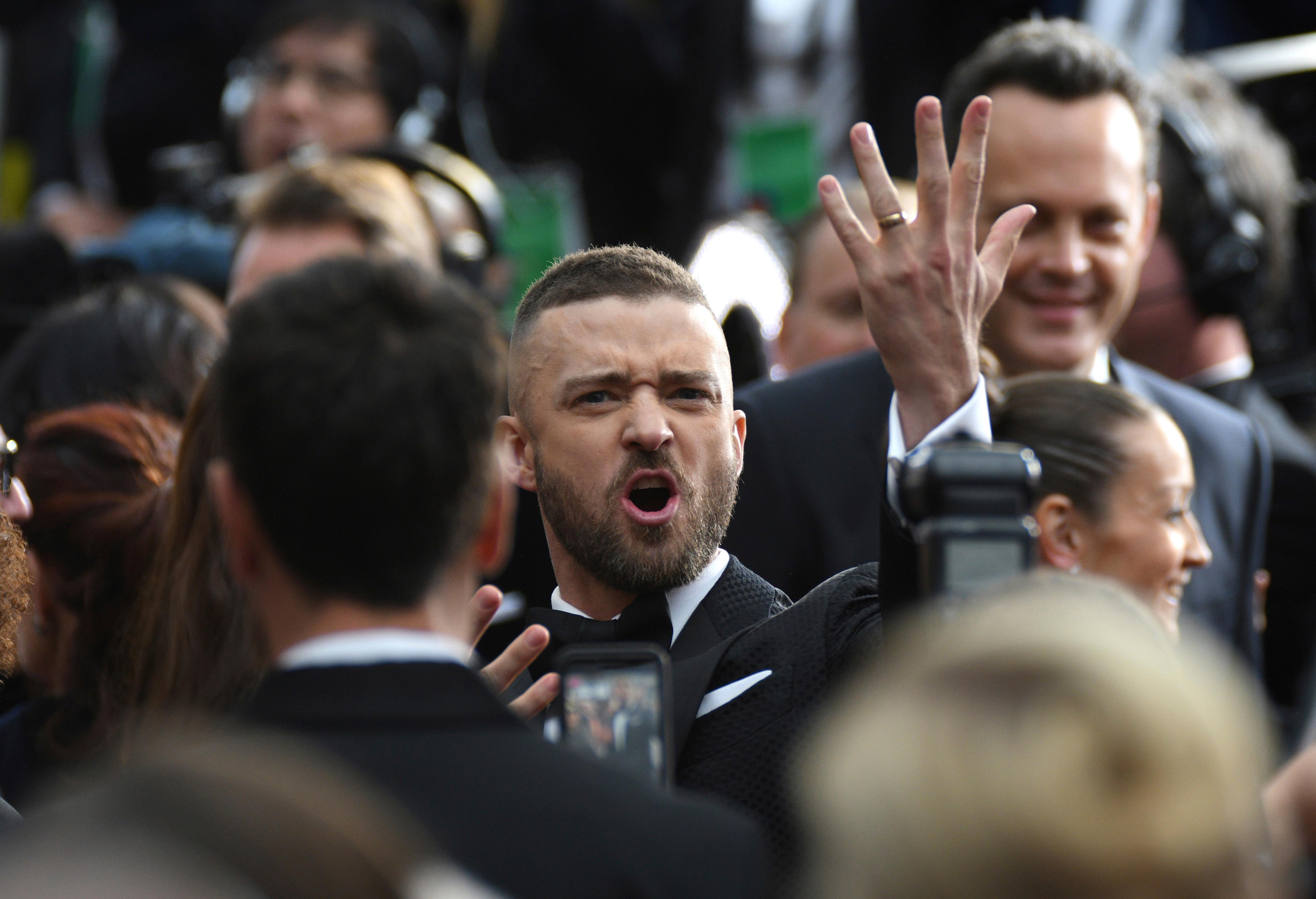 Justin Timberlake arrives at the Oscars on Sunday, Feb. 26, 2017, at the Dolby Theatre in Los Angeles. (Photo by Al Powers/Invision/AP)