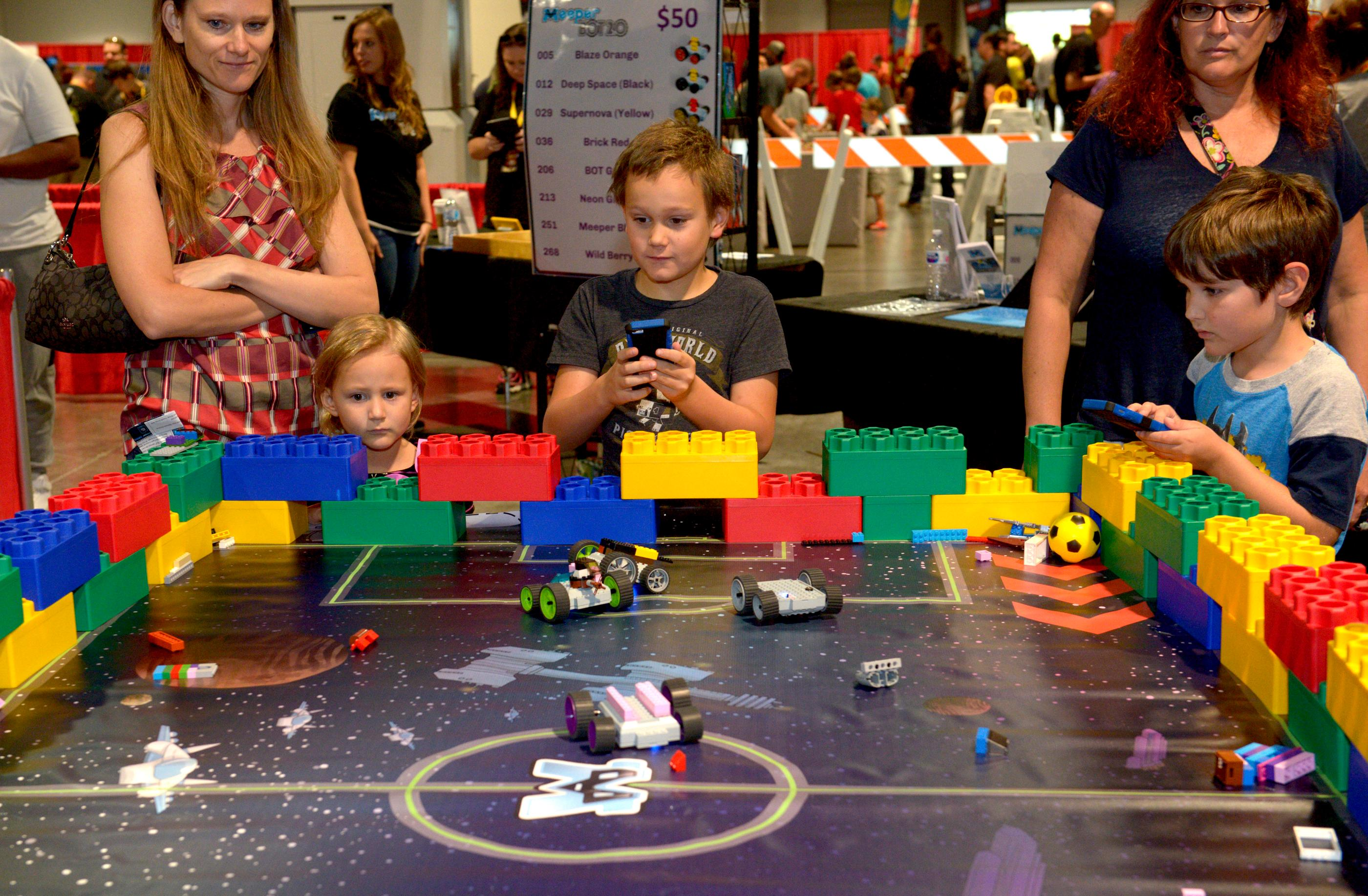 Meeper Mania lets fans play with motorized Lego cars that are controlled by an AP downloaded to their cell phones during the Brick Fest Live Lego Fan Experience at the Las Vegas Convention Center, September 9, 2017. [Glenn Pinkerton/Las Vegas News Bureau]