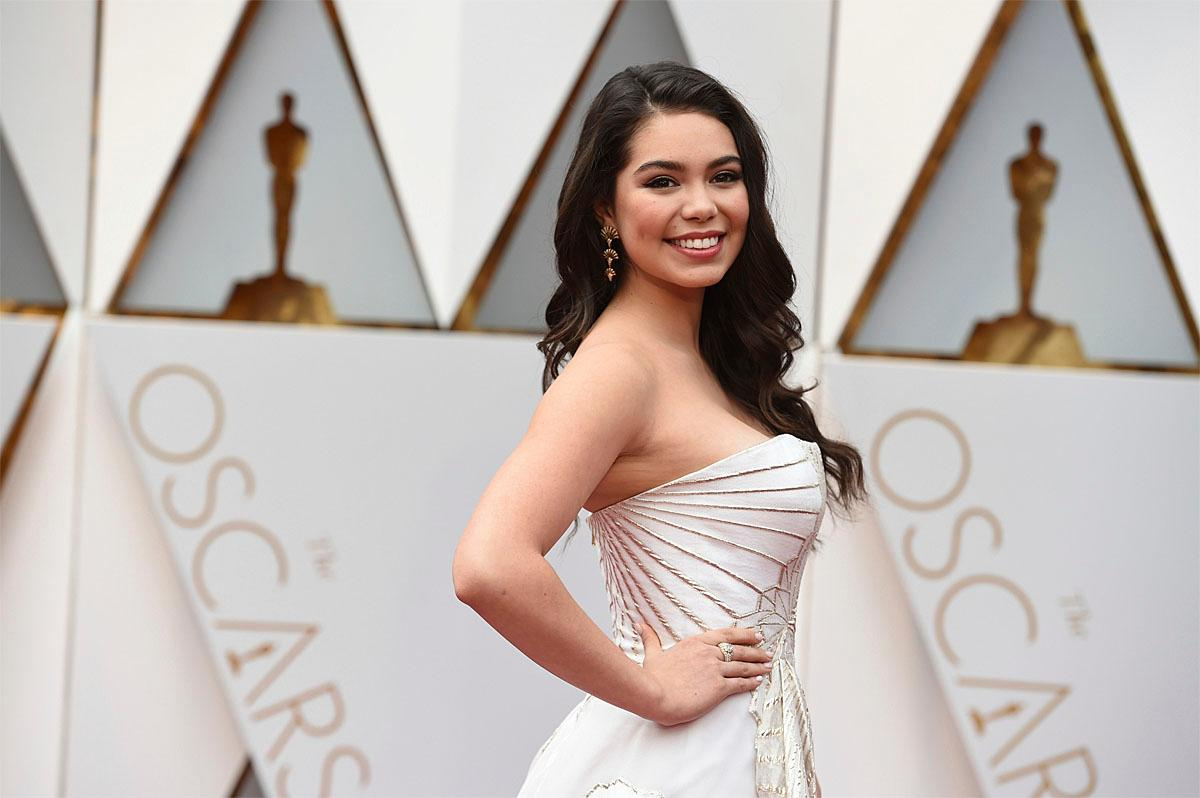 Auli'i Cravalho arrives at the Oscars on Sunday, Feb. 26, 2017, at the Dolby Theatre in Los Angeles. (Photo by Jordan Strauss/Invision/AP)