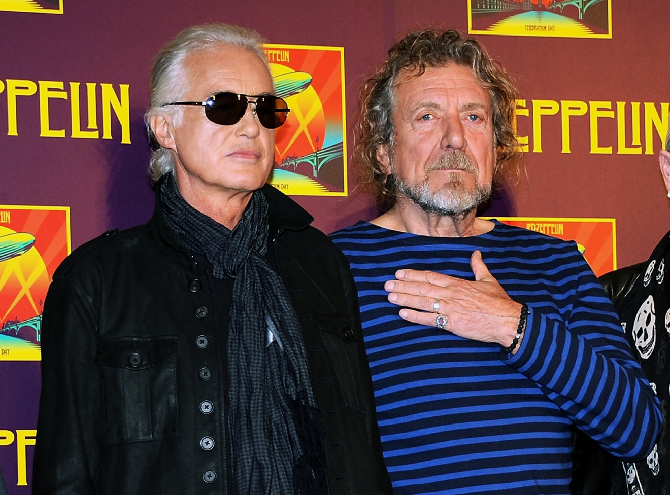 "FILE - In this Oct. 9, 2012 file photo, Led Zeppelin guitarist Jimmy Page, left, and singer Robert Plant appear at a press conference ahead of the worldwide theatrical release of ""Celebration Day,"" a concert film of their 2007 London O2 arena reunion show, in New York. (Photo by Evan Agostini/Invision/AP, File)"
