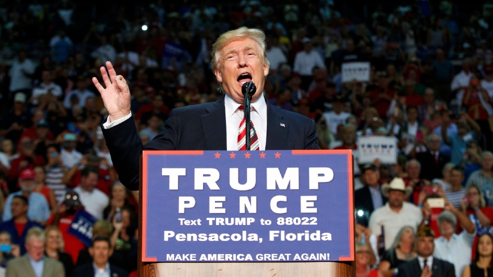 Republican presidential candidate Donald Trump speaks during a rally ...