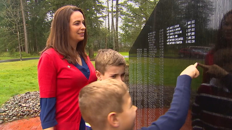 "Krista Anderson of Tacoma was named ""Armed Forces Insurance Army Spouse of the Year"" on Thursday for her work as co-founder of the Unquiet Professional, which supports Gold Star families and veterans. Her husband died in Afghanistan in 2013. (Photo: KOMO News)"