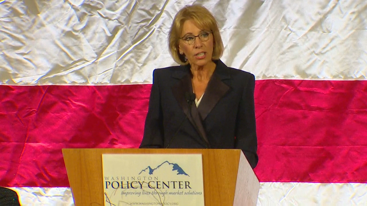 Education Secretary Betsy DeVos speak in Bellevue. (KOMO News)<p></p>