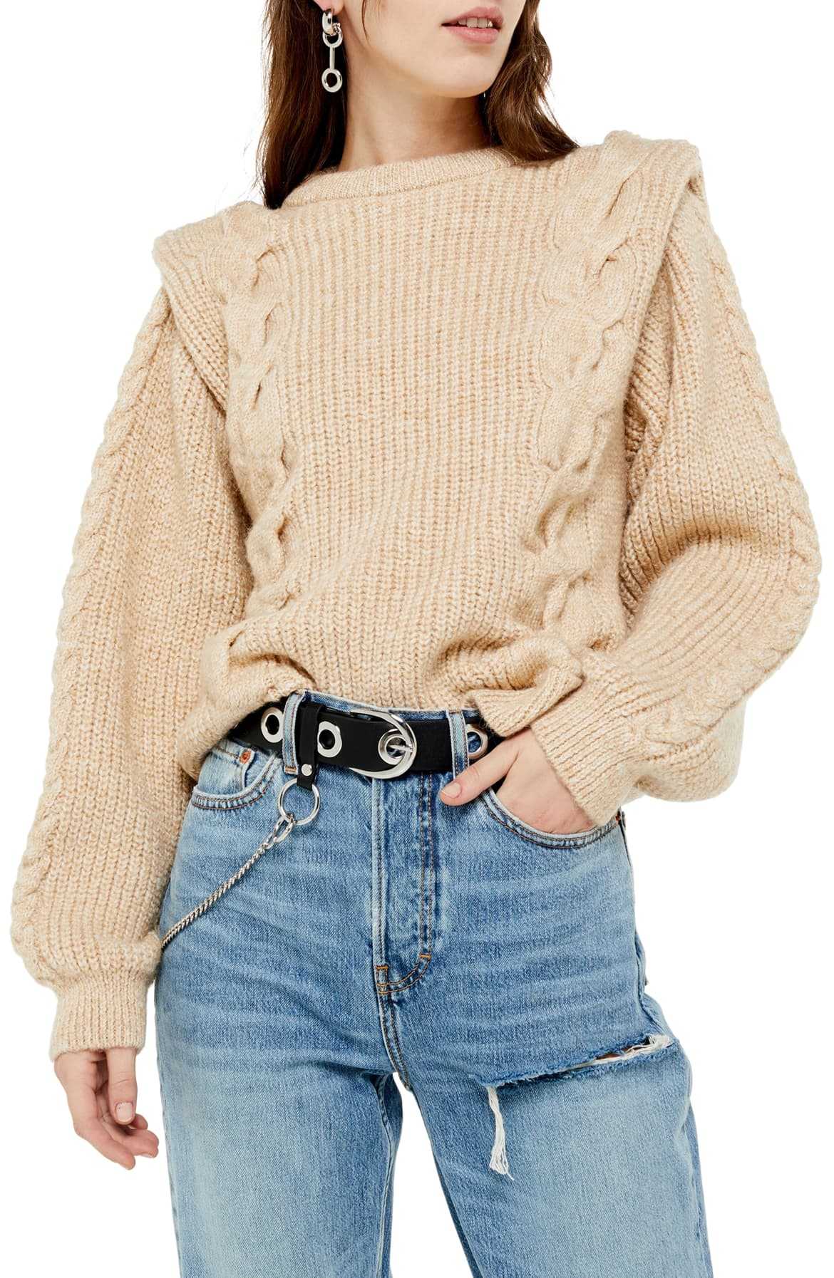 Sharp edges, puff sleeves and exaggerated designs were a total hit in the '80s. This $85, chunky cable knit is the perfect in between option. (Image: Nordstrom){ }