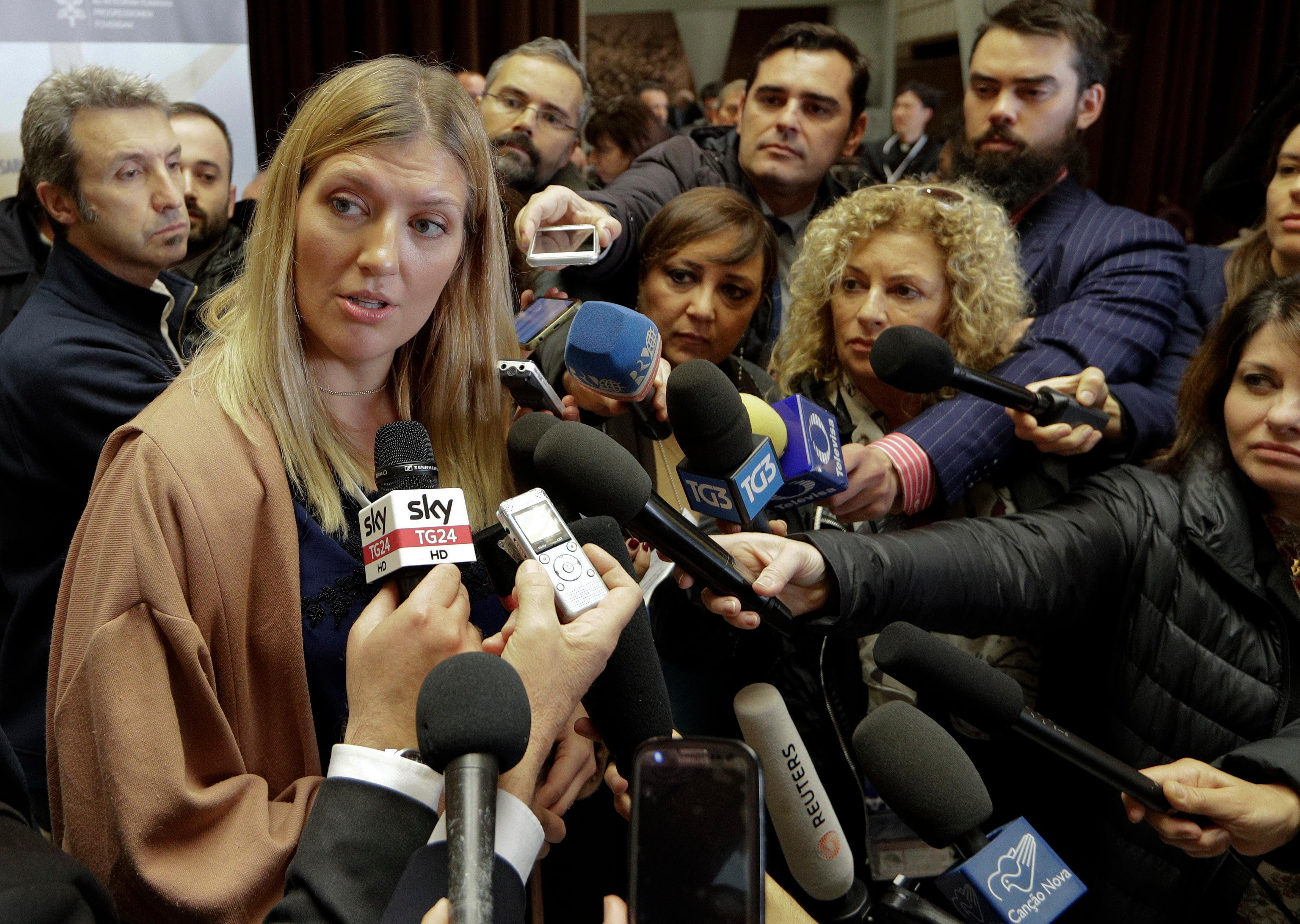 Executive Director of the International Campaign to Abolish Nuclear Weapons Beatrice Fihn talks to reporters during a break of a conference on nuclear disarmament, at the Vatican, Friday, Nov. 10, 2017. The Vatican hosted Nobel laureates, U.N. and NATO officials and a handful of nuclear powers at a conference aimed at galvanizing support for a global shift from the Cold War era policy of nuclear deterrence to one of total nuclear disarmament.(AP Photo/Andrew Medichini3