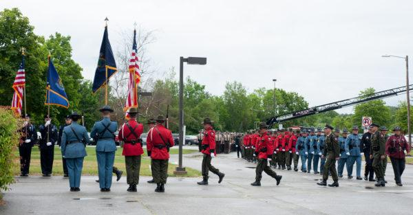 The  Law Enforcement Tribute for Fryeburg Police Officer Nathan M. Desjardins was held at the Augusta Civic Center on Friday morning where thousands came to honor the fallen officer. (Linda Coan O'Kresik | BDN)