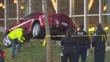 Car crashes in front of downtown Seattle Library