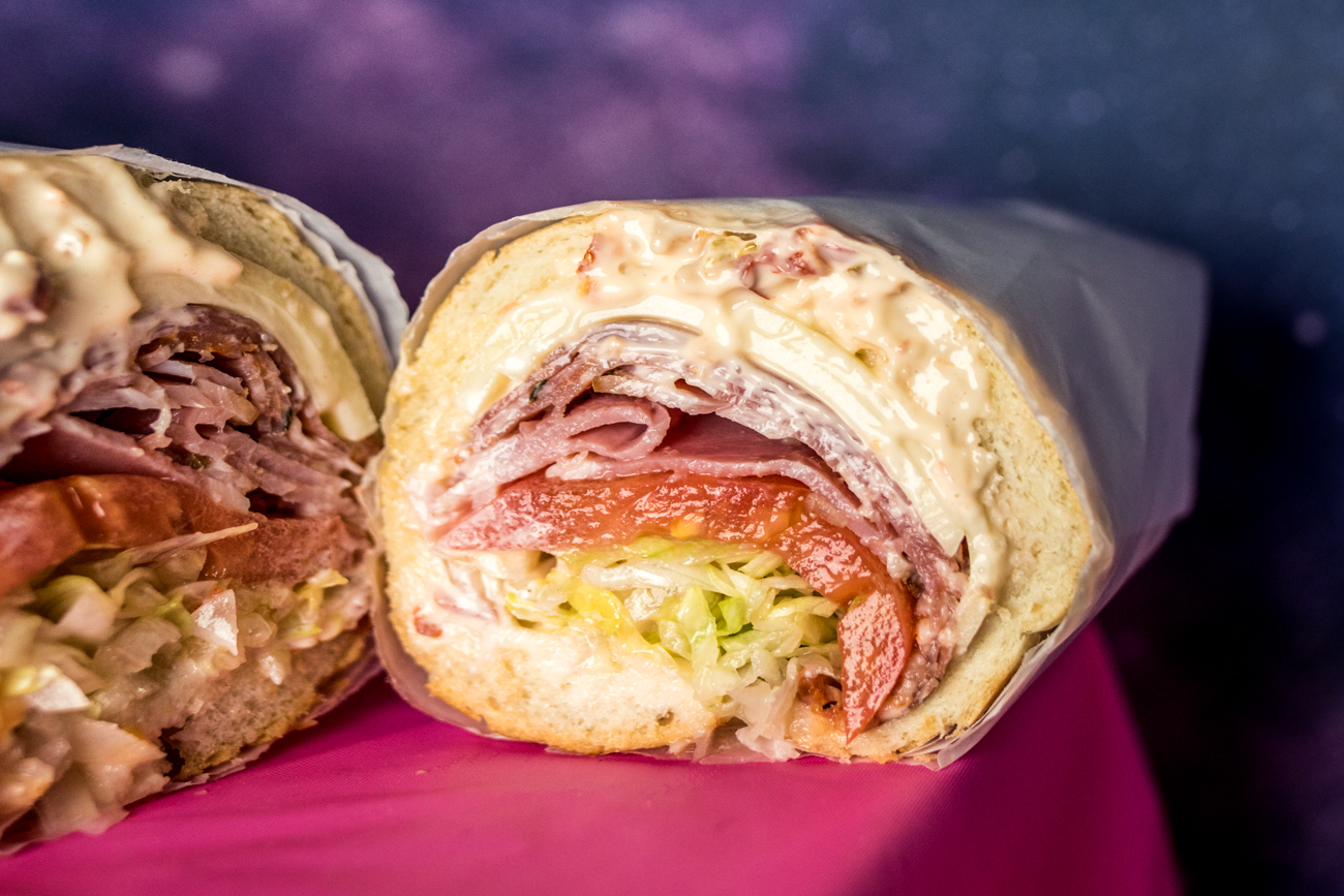 The Bing: prosciutto cotto, salami, and capicola with lettuce, onion, Italian vinaigrette, and pickled pepper mayo on a sub roll / Image: Catherine Viox // Published: 11.13.20