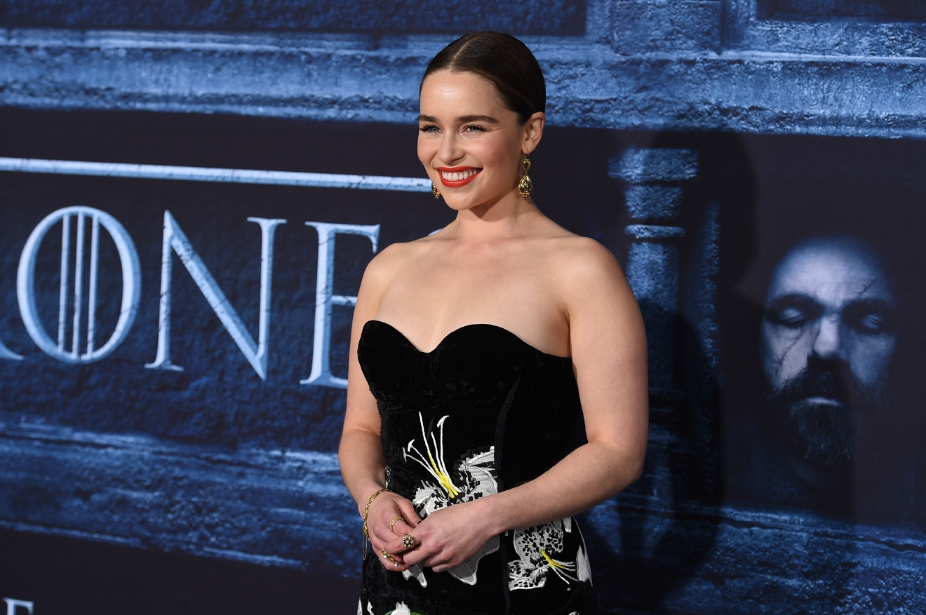 "Emilia Clarke attends a Los Angeles premiere of ""Game Of Thrones"" on April 10, 2016. (Photo credit - Jordan Strauss/Invision/AP)"