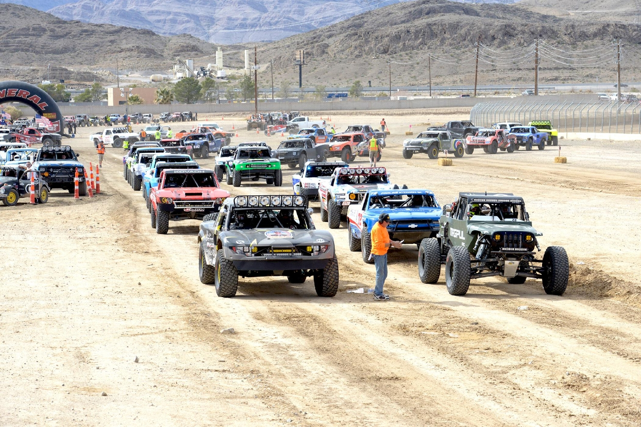 Vehicles line-up to start the Unlimited Race of the Mint 400 Off-road Race in Primm, Nevada. Saturday, March 4, 2017.  [Glenn Pinkerton/Las Vegas News Bureau]