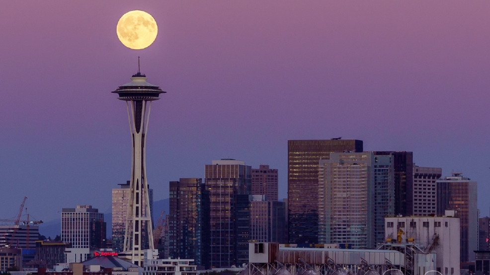 Photos: Full moon graces skies over Puget Sound region