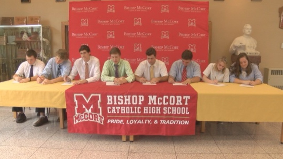 Bishop Mccort Athletes Sign Letters Of Intent Wjac