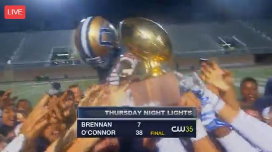 O'Connor defeated Brennan 38-7 to win the 28-6A district title on Thursday night - its first district crown since 2007.