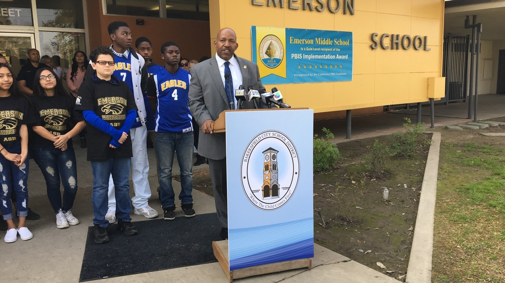1, 2018, at Emerson Middle School in Bakersfield, Calif., about his  department's partnership to provide full-time resource officers to the  Bakersfield City ...