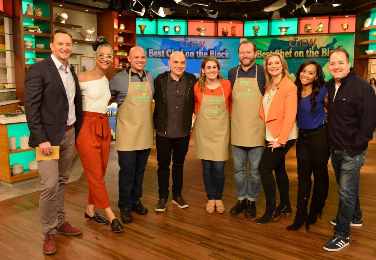 "Chef Jonathan Dearden beat out two other East Coast chefs in the first round of the ""Best Chef on the Block"" competition today on The Chew. (Image: Courtesy The Chew){&nbsp;}<p></p>"