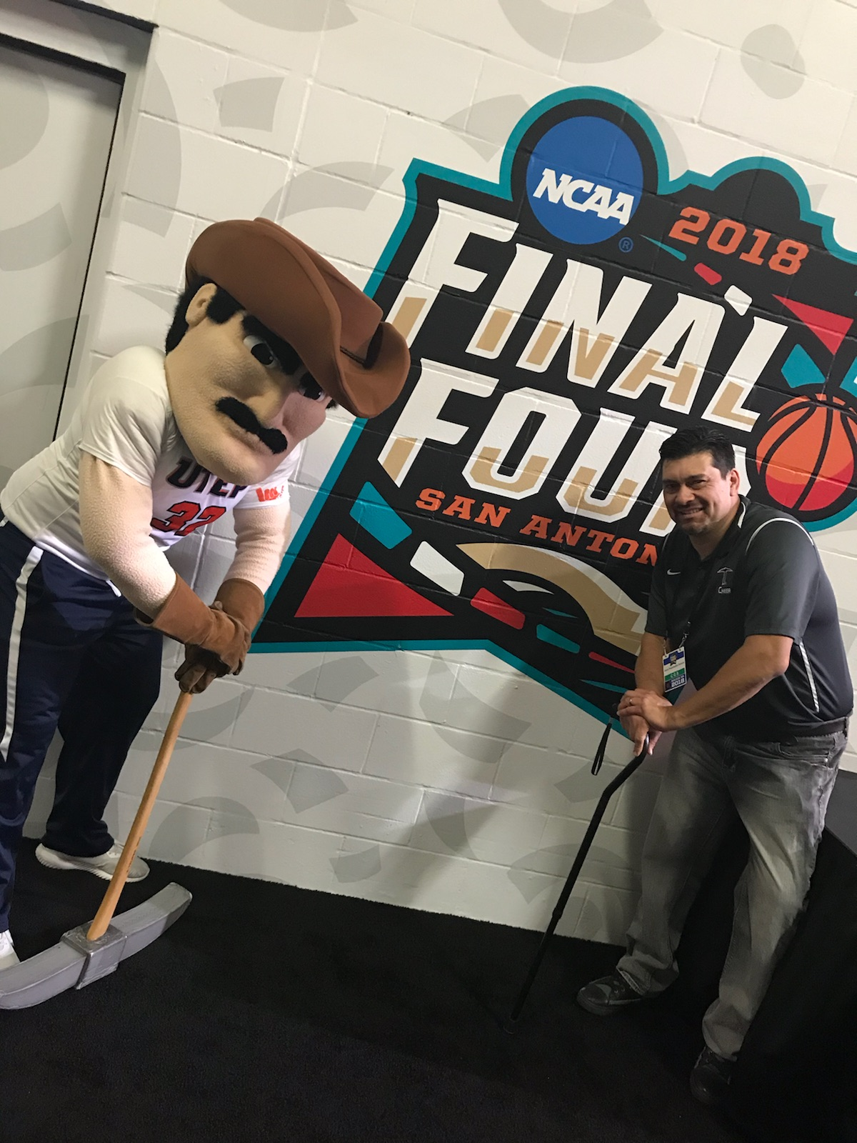 UTEP's Paydirt Pete was invited to the Final Four festivities in San Antonio. (Courtesy: Caesar Cubillos)