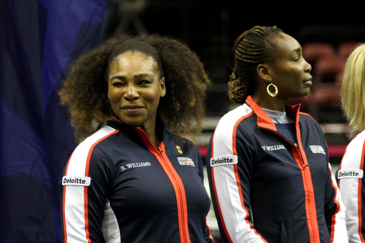Venus Williams (right; that's Serena on the left), who was playing in her 1000th singles match, represented Team USA first, and gave us an early lead. (Photo: WLOS staff)<p></p>