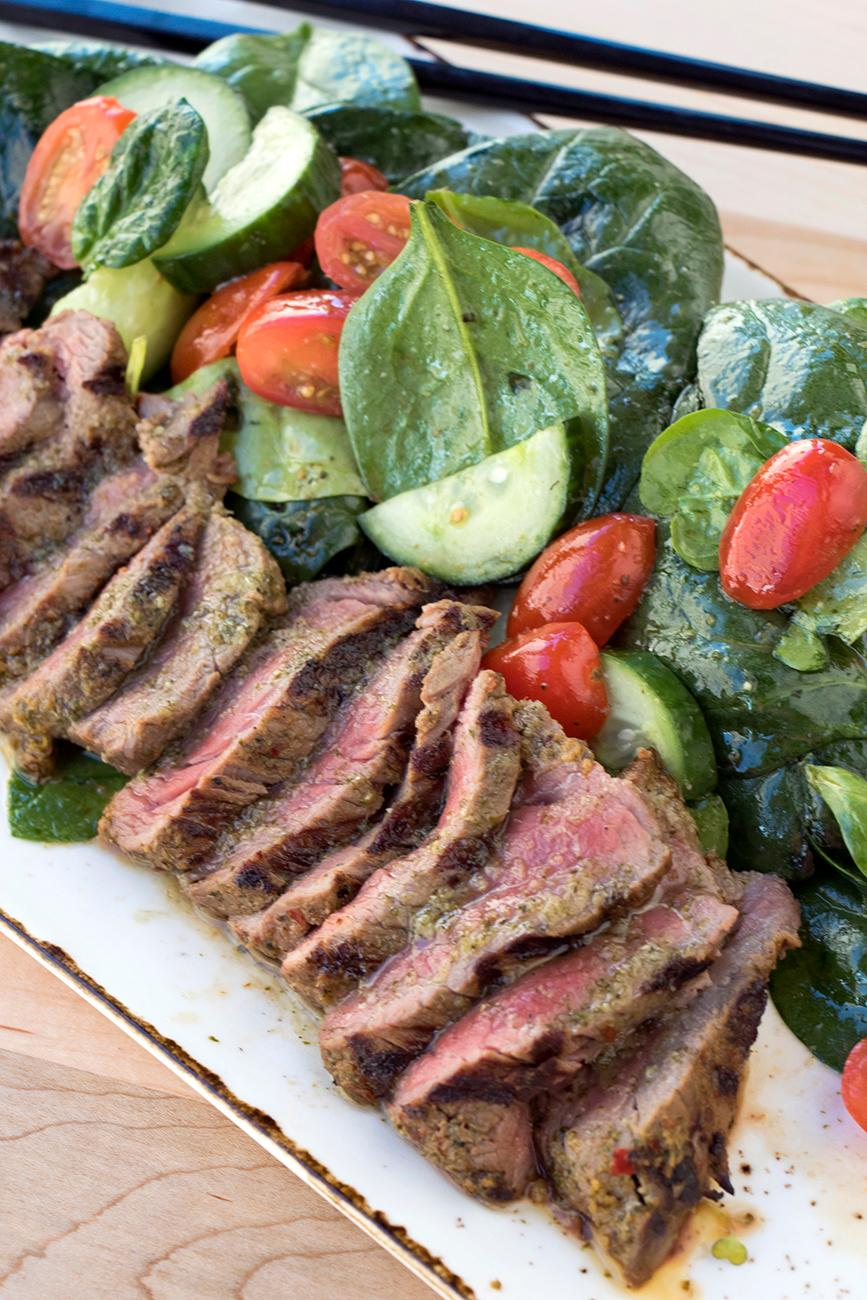 The Crying Tiger: 10 oz wagyu steak and Thai chili spice rub. The salad is tomato, cucumbers, baby spinach, mint, and vinaigrette. / Image: Allison McAdams // Published: 1.21.18<p></p>