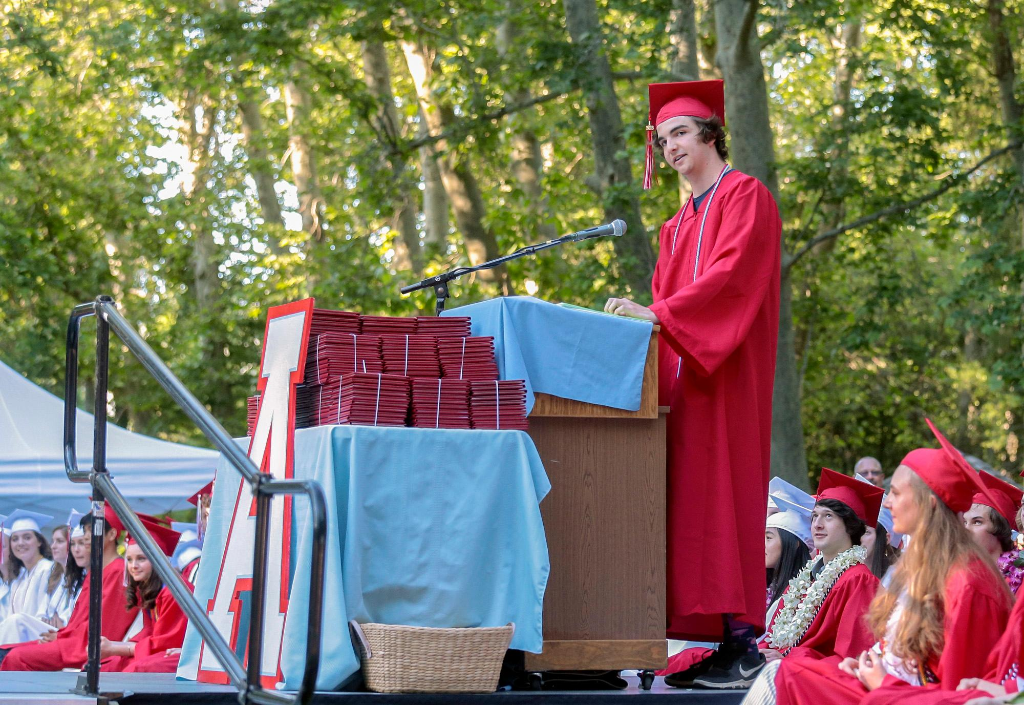 Student Speaker Ian Shibley-Styers during the Ashland High Class of 2018 Commencement Ceremony at Lithia Park.   [ / PHOTO BY:  LARRY STAUTH JR]