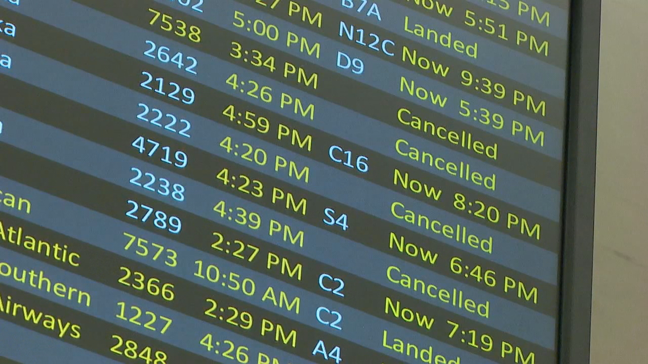 According to FlightAware, there have been over 360 flights delayed in or out of Sea-Tac Airport with delays stretching into Friday afternoon reaching over 2.5 hours. (Photo: KOMO News)