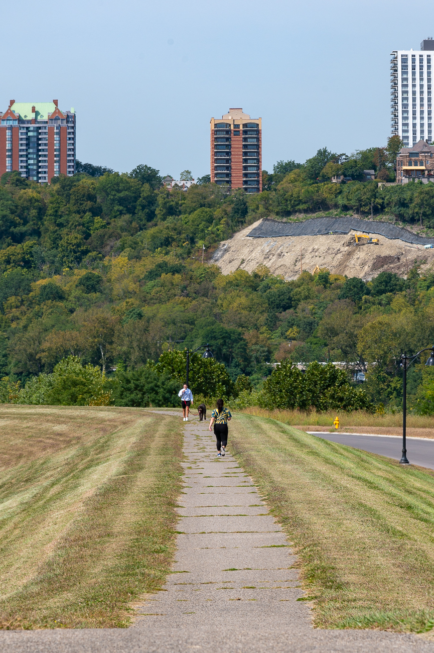 The hillsides east of Downtown are clearly visible on all sections of the flood wall's walking/biking path. / Image: Phil Armstrong // Published: 9.27.20