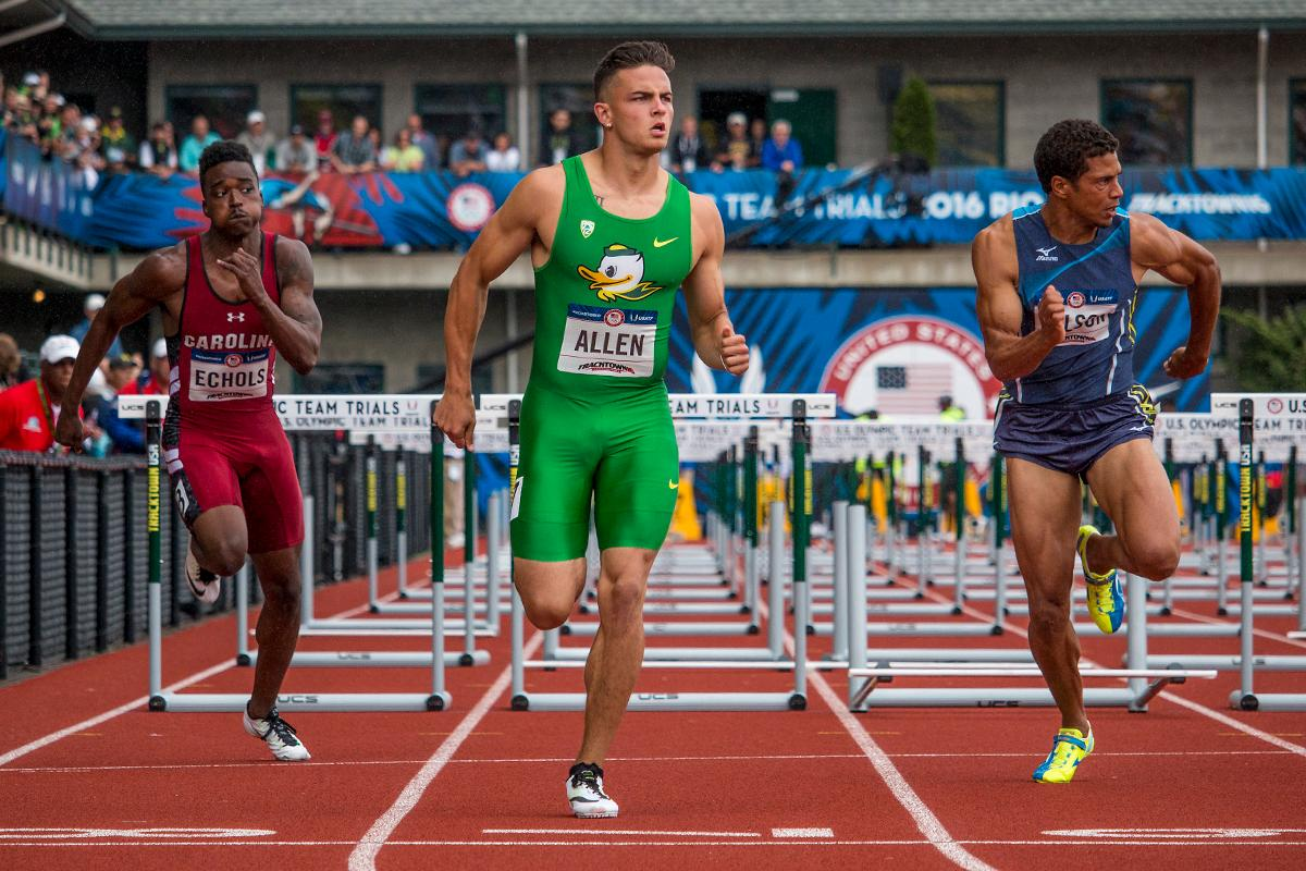 Oregon dual-sport athlete Devon Allen won his heat Friday and advanced to Saturday's semifinals of the 110M hurdles. Allen competes for the Duck track and football teams. (Photo by Katie Pietzold)
