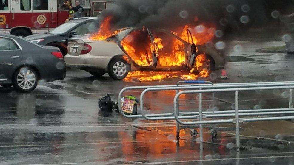 Car Catches Garage On Fire In Rochester: Car Burns In Lowe's Parking Lot In Henrietta