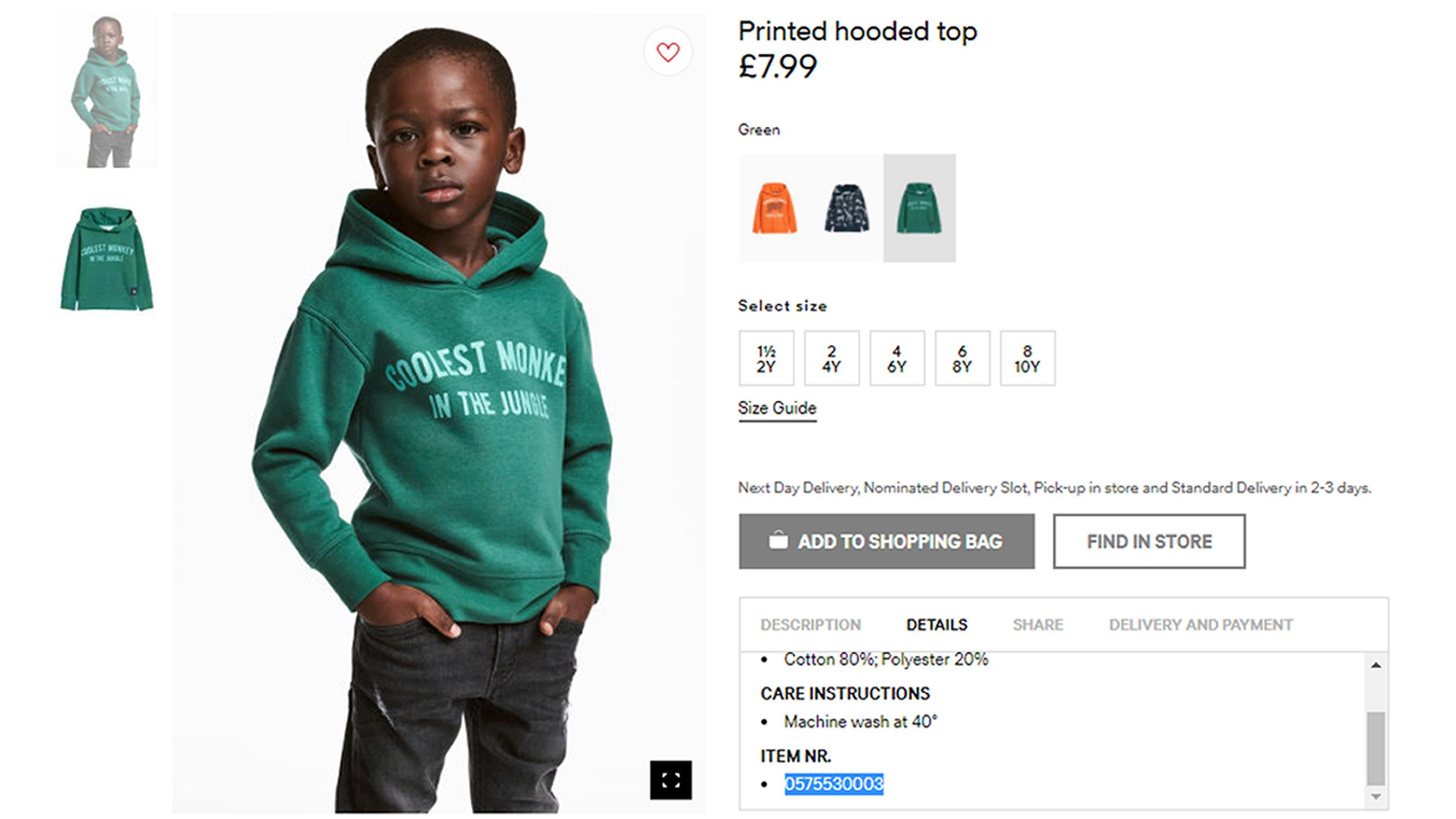 "An undated photo of an advert for a hoodie by H&M. Clothing giant H&M has apologized Monday, Jan. 8, 2017, and removed an advertising image of a black model in a sweatshirt with the words ""Coolest monkey in the jungle.'' The brand removed the image, but kept in place other designs modeled by white children. (H&M via AP)"