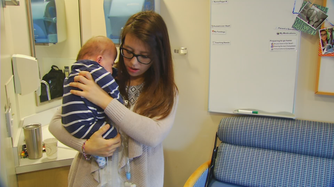 After more than nine months in the NICU at Mission Children's Hospital, little Nicholas Cutshaw finally went home for the first time. (Photo credit: WLOS Staff)