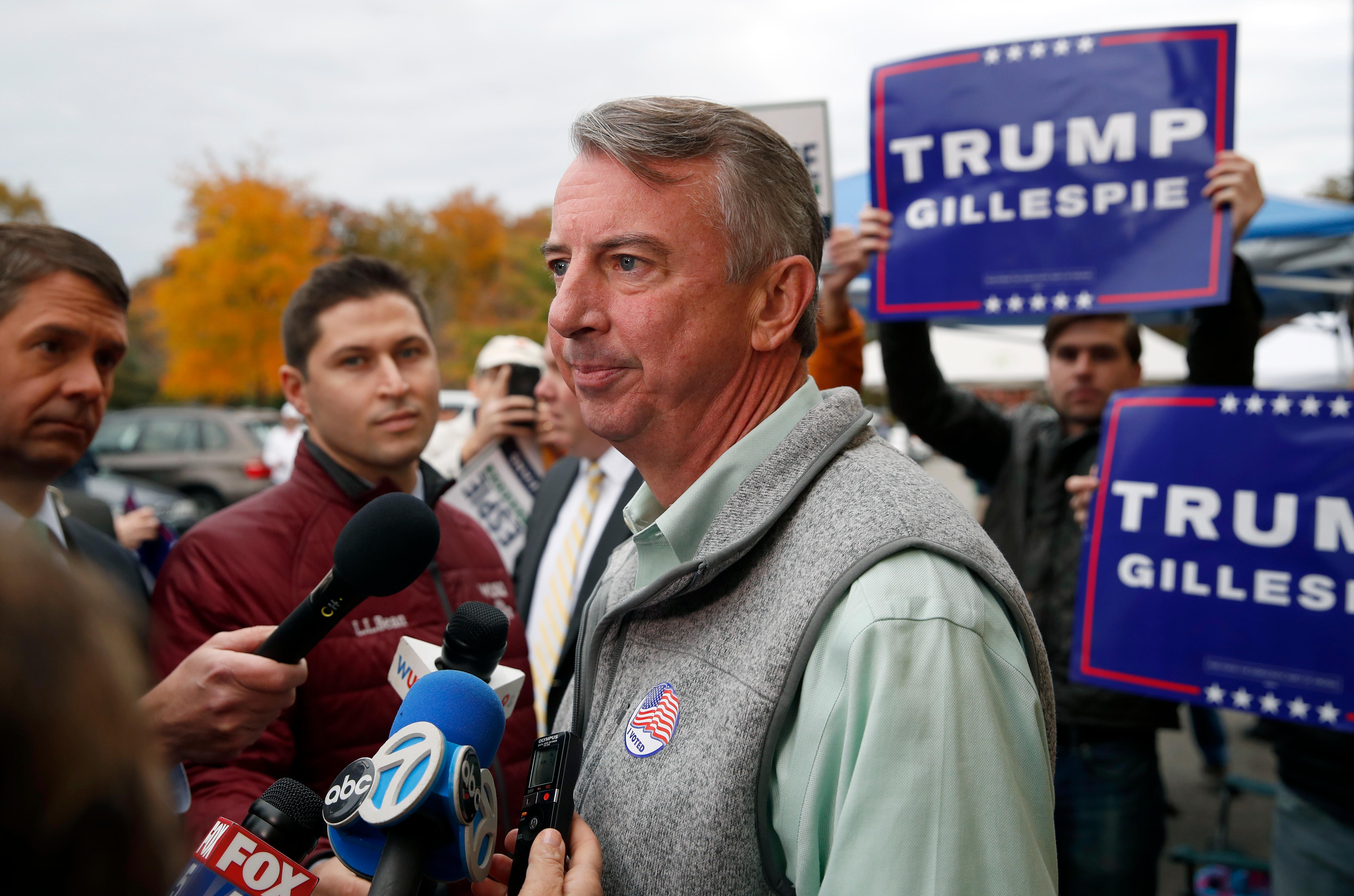 Republican candidate for Virginia governor Ed Gillespie pauses while speaking with reporters after voting at his polling place Tuesday, Nov. 7, 2017, in Alexandria, Va. Gillespie faces Democrat Lt. Gov. Ralph Northam in Tuesday's election. (AP Photo/Alex Brandon)