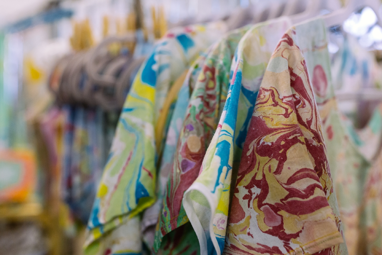 NIFFICH offers one of a kind marbled fabric by artist Helen Groom Poser. You can learn more and shop her work at https://www.etsy.com/shop/NIFFICH. (Image: Joshua Lewis / Seattle Refined)