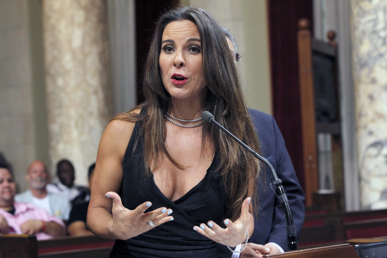 FILE - In this Aug. 15, 2014 file photo, actress Kate Del Castillo speaks during a news conference in City Council chambers in Los Angeles. Castillo breaks months of silence about her and Sean PennÂ?s controversial meeting with then-fugitive drug lord Joaquin Â?El ChapoÂ? Guzman, saying PennÂ?s account of an encounter with a Mexican military checkpoint never happened. The Mexican-American actress speaks in a New Yorker article made available online Friday, March 11, 2016, after largely keeping out of the spotlight ever since GuzmanÂ?s recapture and the publication of PennÂ?s article about the meeting. (AP Photo/ Nick Ut, File)