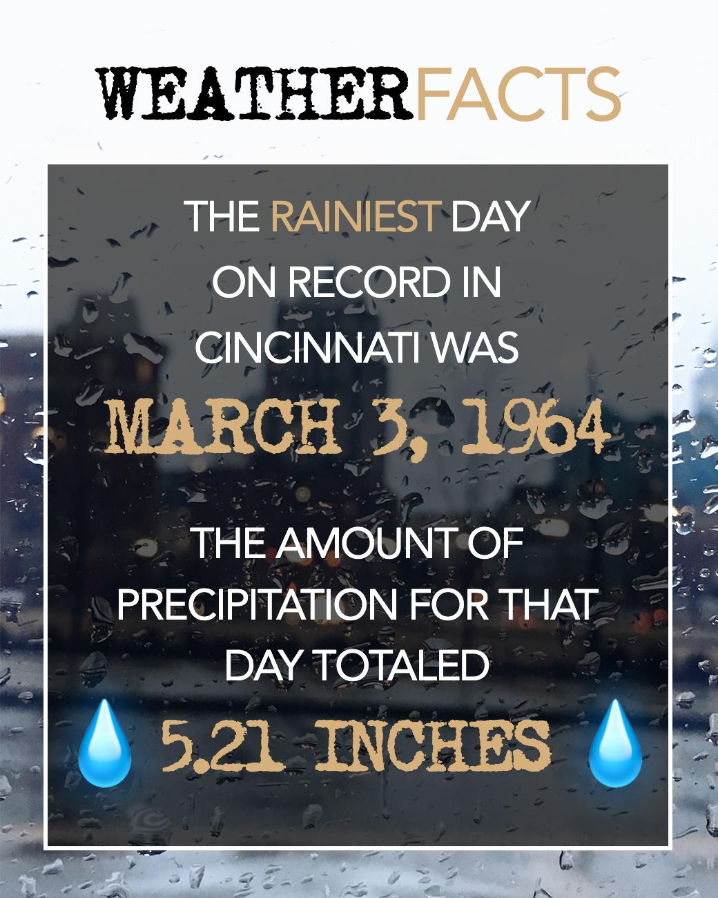 The rainiest day on record in Cincinnati was March 3, 1964. The amount of precipitation for that day totaled 5.21 inches. / Image: Justin Kohl // Published: 2.26.17