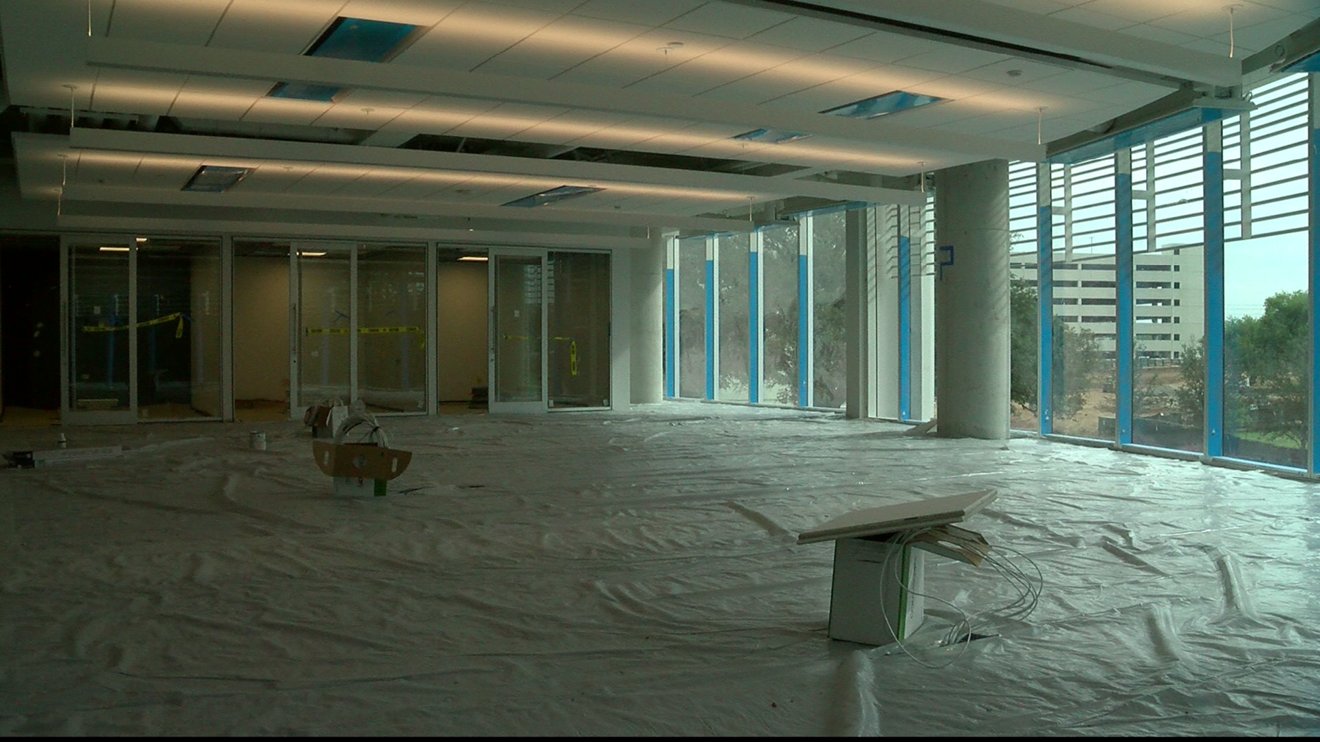 Construction is almost complete at Oracle's new 40-acre campus off Ladybird Lake in East Austin. (CBS Austin)