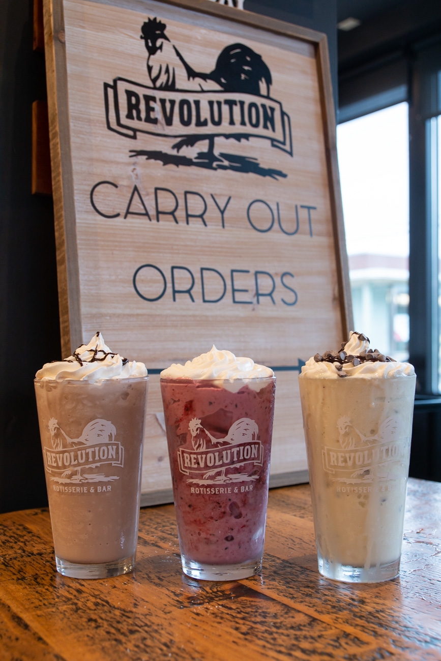 "Milkman's mantra is ""When life spills your milk, make milkshakes."" From left to right are the shop's Mudslide, Raspberry, and Grasshopper shakes. / Image: Elizabeth A. Lowry // Published: 10.6.20"