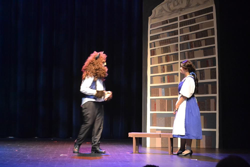 Jordan King, 15, played Belle and Mackenzie NesSmith, 18, played The Beast in Upstart Crow's production of Beauty and The Beast, Jr. Photo by Taylor Perse.