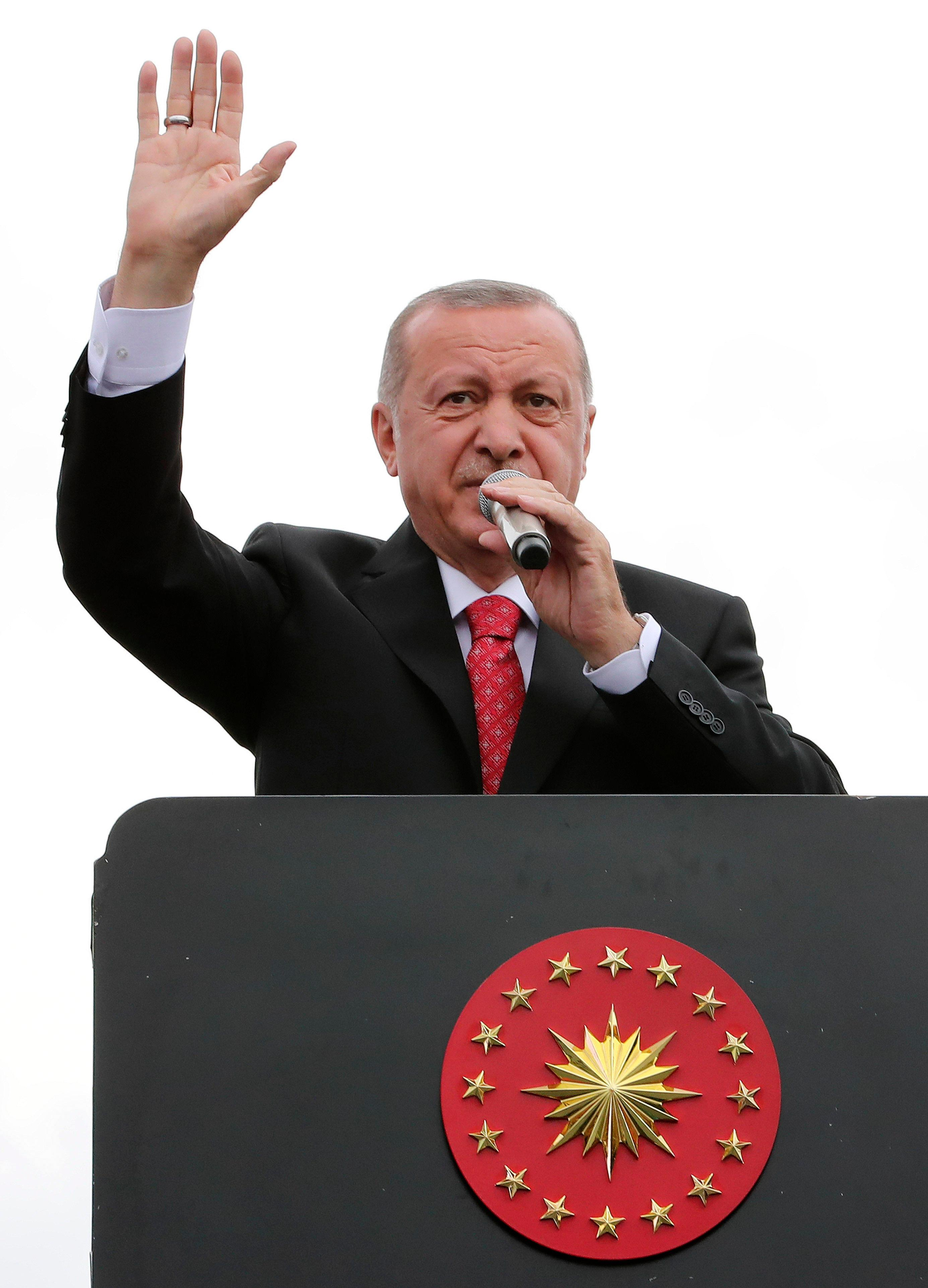 Turkey's President Recep Tayyip Erdogan, gestures as he talks during a campaign rally in Istanbul for the June 23 re-run of Istanbul elections, Wednesday, June 19, 2019. . (Presidential Press Service via AP, Pool)