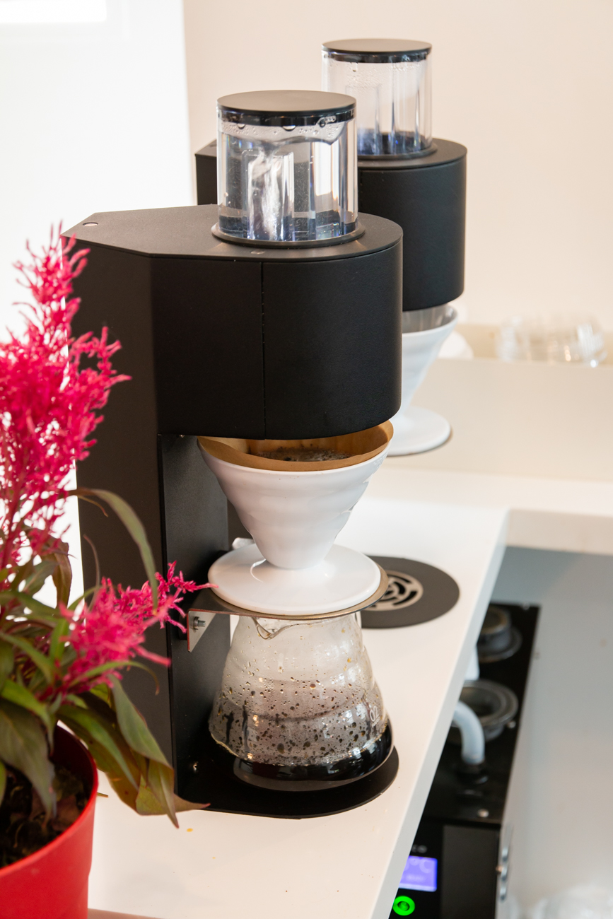 Urbana's two commercial Marco automated pour-over coffee brewers / Image: Elizabeth A. Lowry{ }// Published: 8.11.20