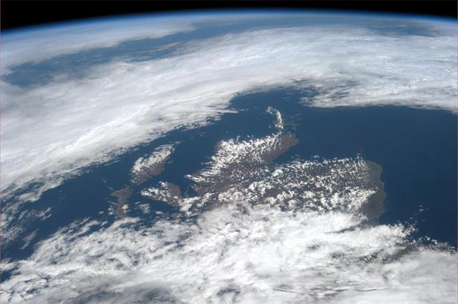 Scotland and the Spring sunshine peeking at each other over the clouds.  (Photo & Caption: Col. Chris Hadfield, NASA)